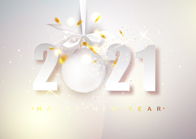 2021 vector happy new year. bright christmas banner with numbers and a hanging ball.