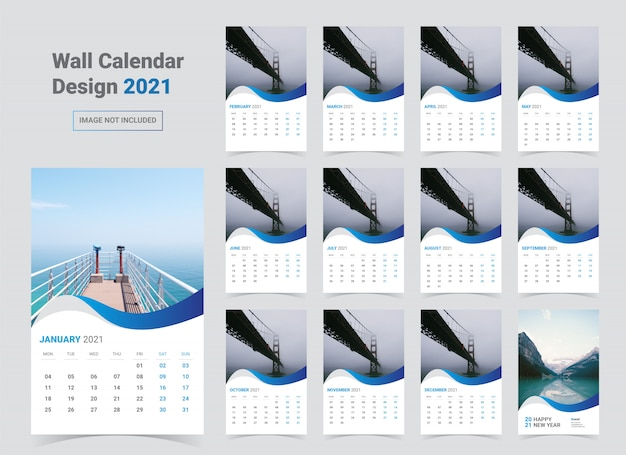 2021 wall calendar template Premium Vector