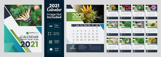 2021 wall calendar with multicolored layout