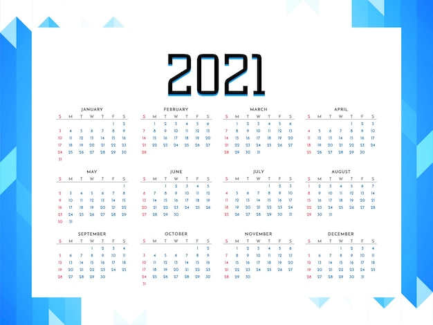 2021 year calendar business style design vector