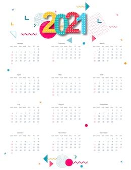 抽象的な幾何学的デザインのカレンダー2021。テンプレート。