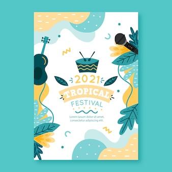 Музыкальный фестиваль плаката 2021 иллюстрированный дизайн
