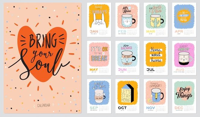 かわいい壁掛けカレンダー。 2021年プランナー、すべての月。良い主催者とスケジュール。トレンディなイラスト