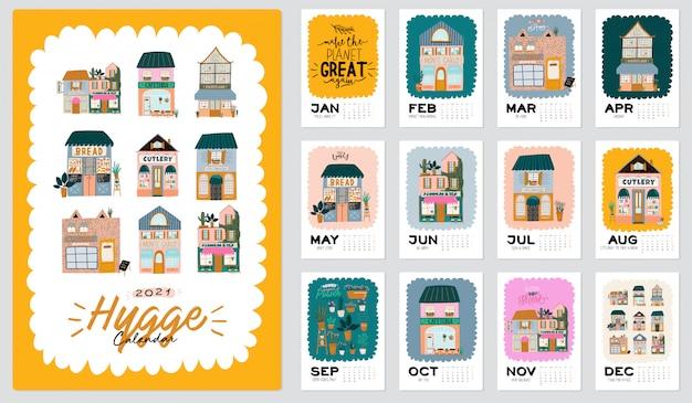 壁掛けカレンダー。 2021年プランナー、すべての月。良い主催者とスケジュール。かわいい家の背景。やる気を起こさせる引用レタリング。