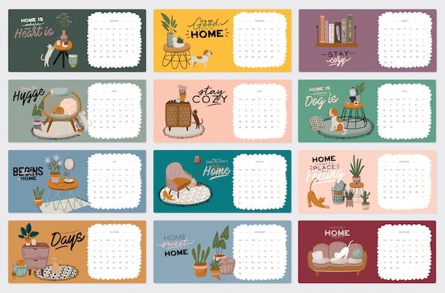 壁掛けカレンダー。すべての月を含む2021年プランナー。かわいいホームインテリアイラスト。動機付けの引用レタリング