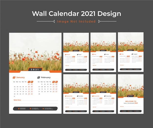 壁掛けカレンダーデザイン2021
