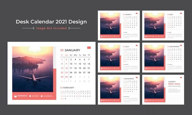2021卓上カレンダー、日付プランナー