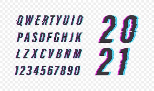 グリッチビデオエフェクト。アルファベット記号セット。 2021