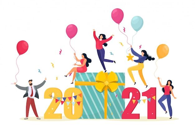 2021счастливая новогодняя визитка. иллюстрация с маленьких людей, готовящихся к вечеринке. счастливая команда празднует праздник. мультяшный плоский стиль.