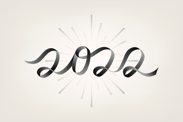 2022年の黒の新年のテキスト、ベージュの背景ベクトルの美的タイポグラフィ