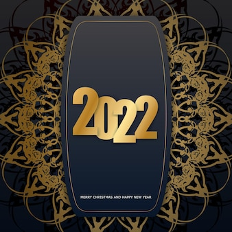 2022 brochure merry christmas and happy new year black color with abstract gold ornament