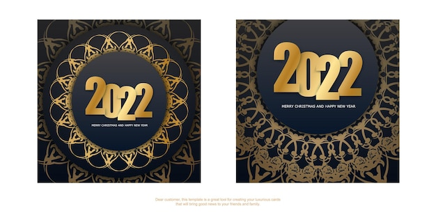 2022 brochure merry christmas and happy new year black color with vintage gold ornament