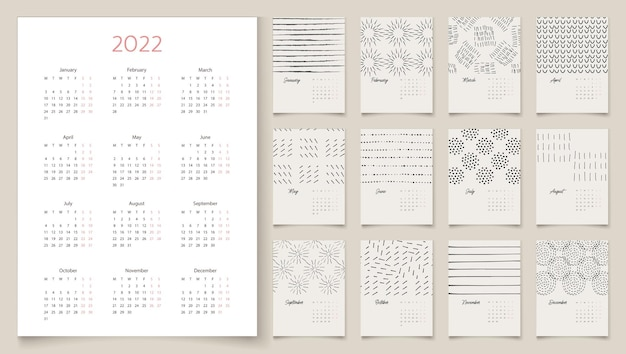 Дизайн календаря 2022 года с абстрактными художественными векторными иллюстрациями