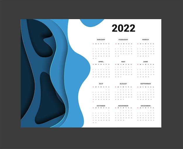Календарь 2022 года - иллюстрация. шаблон. неделя макета начинается в воскресенье