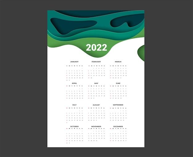 2022年のカレンダー-イラスト。レンプレート。モックアップウィークは日曜日に始まります