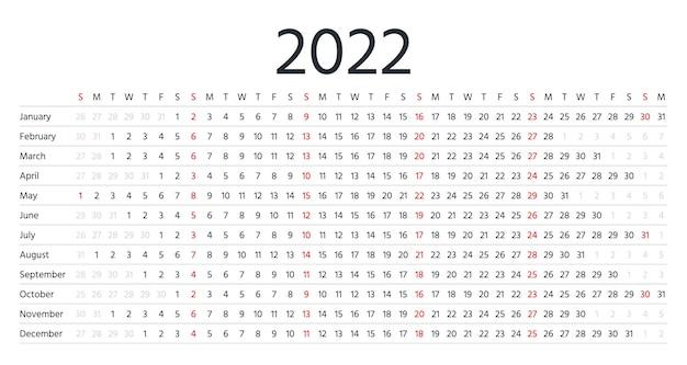 2022年のカレンダー。年間の線形水平プランナー。月のある年間スケジュールグリッド