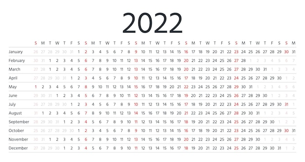 2022 calendar. linear horizontal planner for year. annual schedule grid with months