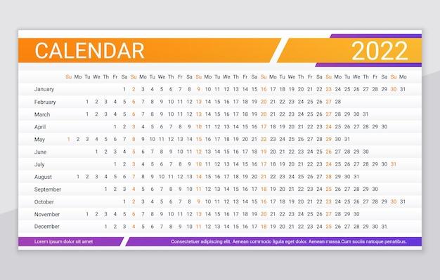 2022年のカレンダー。リニアプランナーグリッド。年間水平カレンダー。年間スケジュールテンプレート。