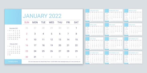 Календарь 2022 года. планировщик, шаблон календаря. неделя начинается в воскресенье. вектор. ежегодный органайзер канцелярских товаров. таблица расписания сетки с 12 месяцами. макет корпоративного ежемесячного дневника. горизонтальная простая иллюстрация.