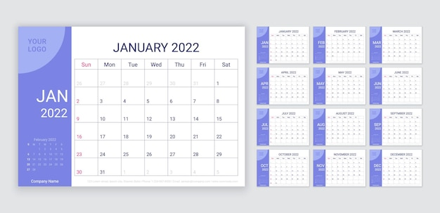 2022年のカレンダー。プランナーレイアウト。カレンダーのテーブルグリッド。ベクトルイラスト。