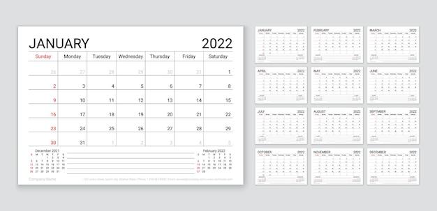 2022年のカレンダー。年のプランナーテンプレート。週は日曜日に始まります。ベクター。毎月のカレンダーオーガナイザー。 12か月のテーブルスケジュールグリッド。企業の年次日記のレイアウト。横のシンプルなイラスト。