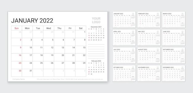 Шаблон календарного планировщика на 2022 год, неделя начинается в воскресенье, ежегодный календарь, организатор, таблица, расписание, сетка