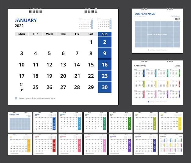 2022年のカレンダー。テンプレート企業デザインの卓上カレンダーを設定します。週は月曜日に始まります。