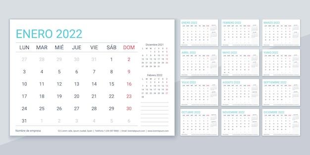 2022年のカレンダー。スペインのプランナーテンプレート。週は月曜日に始まります。ベクター。 12ヶ月のカレンダーレイアウト。テーブルスケジュールグリッド。毎年恒例の文房具の主催者。横型月刊日記。簡単なイラスト。