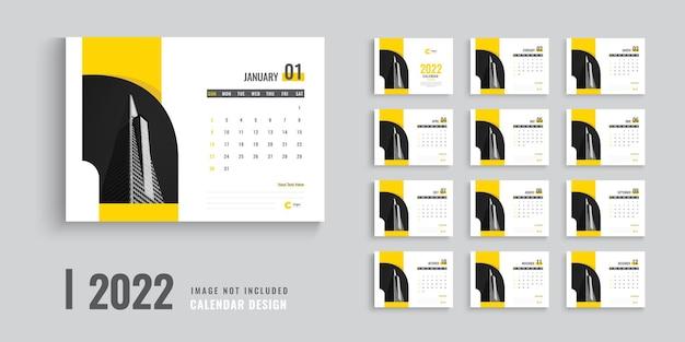 2022 calendar template design or creative desk calendar design for 2022 Premium Vector