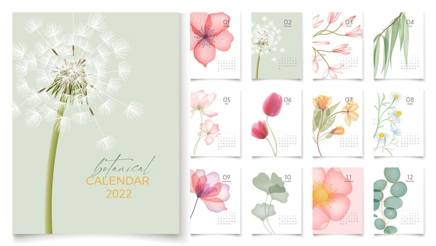 Шаблон календаря 2022 года с абстрактными цветами и 12 страницами на каждый месяц