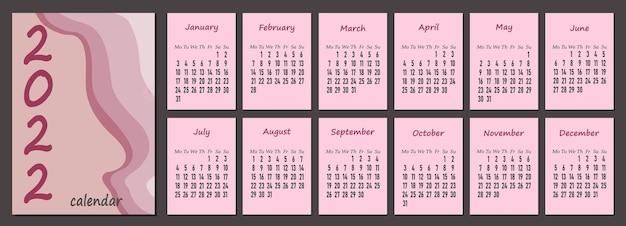 Календарь 2022 года, вертикальный шаблон календаря 2022 года в розовых пастельных тонах, неделя начинается в понедельник