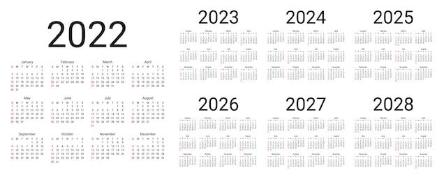 Календарь на 2022 год. неделя начинается в воскресенье. шаблон настольного календаря. простая компоновка карманных или настенных каландров