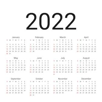 Календарь 2022 года. неделя начинается в воскресенье. простая схема календаря. шаблон настольного календаря. вектор.