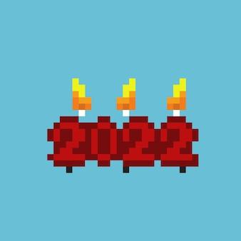 Свеча 2022 года в стиле пиксель-арт