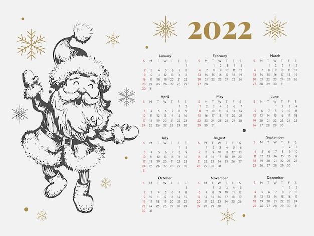 2022 christmas tree new year sketch calendar week starts on sunday.