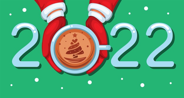 2022 coffee late art christmas and new year greeting with tree symbol cartoon illustration vector