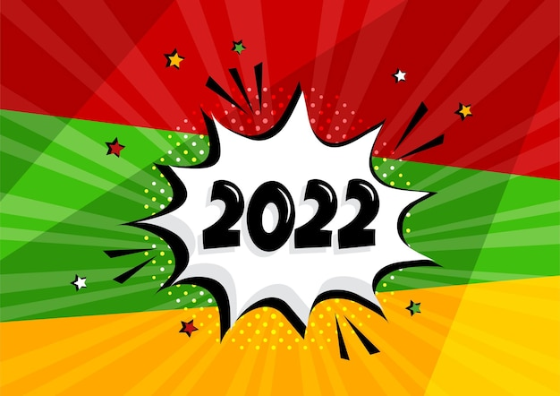 2022 comic speech bubble new year vector icon on colorful background. comic sound effect, stars and halftone dots shadow in pop art style. holiday
