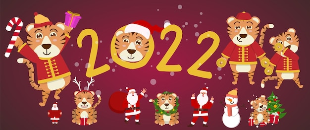2022 cute tiger and santa decorate the christmas tree. congratulatory banner with chinese new year 2022 year of the little tiger. vector illustration