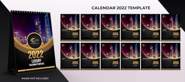 2022 desk  calendar corporate template set of 12 months  with black gold color background