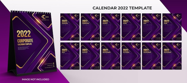 2022 desk calendar corporate template set of 12 months  with purple and gold color background