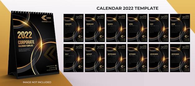 2022년 책상 달력 기업 템플릿 검정색과 금색 배경이 있는 12개월 세트