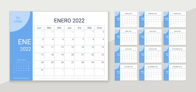 2022 desk calendar. spanish planner template. vector illustration. yearly grid of calender.