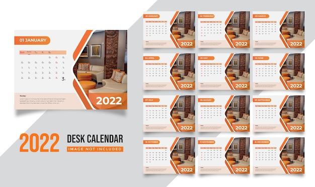 창조적 인 디자인으로 현대적인 새해 기업 비즈니스 회사를위한 2022 책상 달력 템플릿