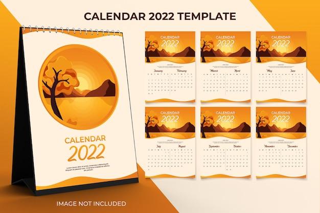 2022 desk calendar  template set of 12 months  with sunset background