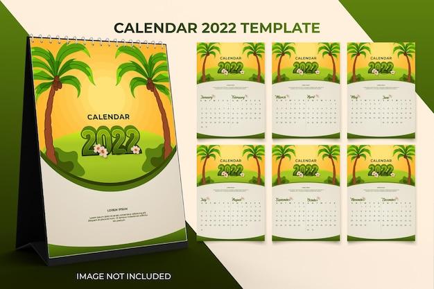 2022년 책상 달력 템플릿 식물 배경이 있는 12개월 세트