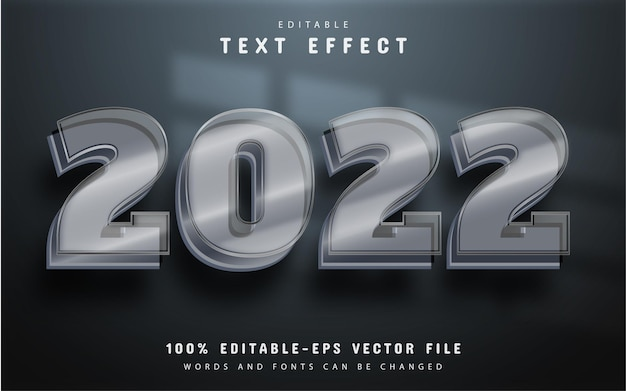 2022 editable glass style text effect