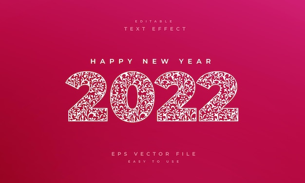 2022 editable text effect with seamless floral pattern style