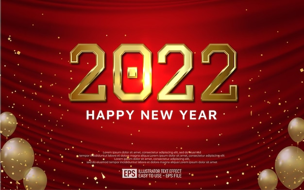 2022 gold 3d text editable style effect template