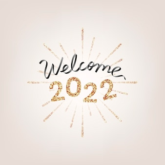 2022 gold glitter welcome new year text, aesthetic typography on gold background vector