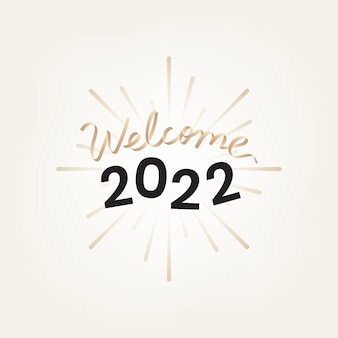 2022 gold welcome new year text, aesthetic typography on beige background vector